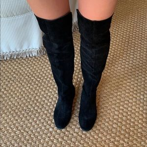 Chinese Laundry Black Suede Over the Knee Boots